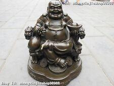 Chinese Statue Pure Bronze Money Maitreya Buddha on Dragon chair Statue