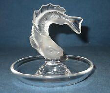Lalique Frosted Leaping Fish Tray Ring Pin
