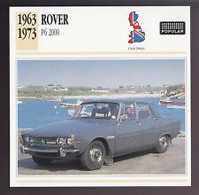 1963-1973 Rover P6 2000 Sedan British Car Photo Spec Sheet Info ATLAS CARD