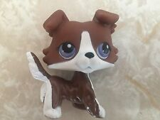 Littlest Pet Shop RARE Collie Dog Puppy No # Chocolate Brown Blue LPS