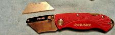 Husky Red Handle Folding Utility Knife, Belt Clip, Lockback