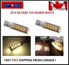 20PCS Super Bright WARM White T10 68-SMD LED W5W 194 921 168 Reverse Backup RV