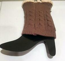PEARL KNIT LACED LEG WARMERS BOOTS TOPPERS-CHOCOLATE