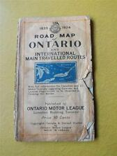 MAP ONTARIO MOTOR LEAGUE & INTERNATIONAL MAIN TRAVELLED ROUTES 1933-1934