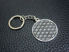KC039 Flower of Life Keychain Hexagon Pewter Key Ring Christmas Gift Bag Charm