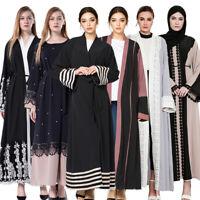 Dubai Women Open Cardigan Abaya Muslim Kaftan Kimono Long Maxi Dress Jilbab Gown