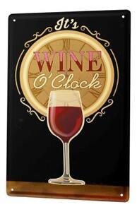 Plaque ?maill?e M?tal Affiche Affiches Temps de verre de vin rouge Cuisine D?cor