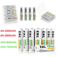 EBL Lot AA AAA NI-MH Rechargeable Batteries For Flashlight Camera Flash Remote