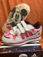 Adidas Disney StreetRun Minnie Mouse Leather Trainers Size 6 White Pink Purple