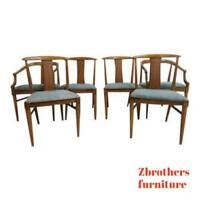 6 Mid Century French Regency T Back Dining Room Side Arm Chairs Set