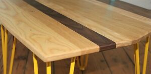 New Solid Oak Ash Walnut Hairpin Leg Coffee Table Handcrafted Yellow Legs