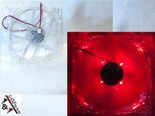 Lüfter für PC Netzteil 12cm Fan 120x120x25mm 12V Transparent Acryl leise LED Rot