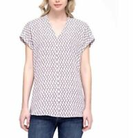 Pleione Ladies' Short Sleeve Blouse, Dotted Balloon Print, Size XL, NWT