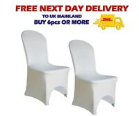 50pcs WHITE CHAIR COVERS Arched Front Wedding Banquet Party Spandex Decor