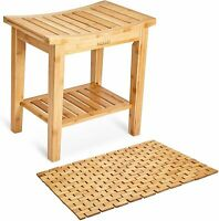 Morvat Bamboo Shower Bench and Bamboo Shower Mat, Shower Seat, Shower Chair
