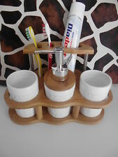 Bambus Keramik Badset Seifenspender Mundspülbecher Zahnbürstenhalter Bad Set
