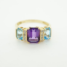 14k Yellow Gold Womens Diamonds and Multi Color Stones Ring  #22494
