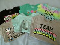 JUSTICE Girls 8 TOPS T-Shirts Graphics *6 Great Choices* Unicorn Tie-Dye + More!