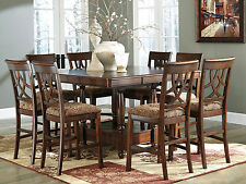 REGAL-9pcs Traditional Square Counter Height Dining Room Table Set Furniture NEW