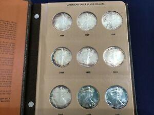 1986-2011 American Silver Eagle Complete set of 26 BU Coins Dansco Album E1763