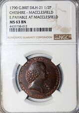 1790 Cheshire Macclesfield Copper Works Halfpenny Conder Token D&H-21 NGC MS63