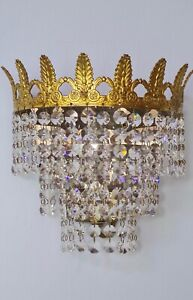 💖Lovely French vintage lead crystal & brass waterfall chandelier wall light 💖