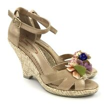 Poetic Licence True Romance Gold Shimmer Floral Applique Strappy Wedge Heel Sz 7