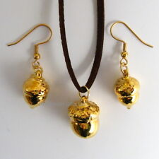 unique acorn gold leaf pendant and earring set gift boxed leaf jewellery