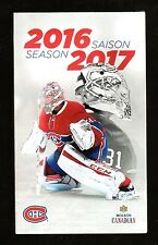 MONTREAL CANADIENS 2016-17 SCHEDULE WITH CAREY PRICE ON COVER