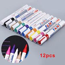 12 Couleur Marqueur Permanent Feutre Pinceau Peinture Stylo Crayon Pr Pneu Auto