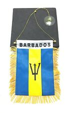 "Barbados Flag Mini Banner 4"" x 6"" w/ Suction Car Window Decoration Bajan"