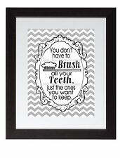 Black Gray Chevron Bathroom Rules Wall Art Print Poster Brush Your Teeth