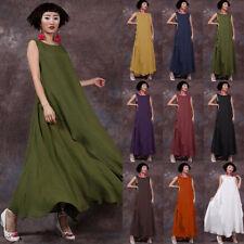 Zanzea AU 8-24 Women Retro Sleeveless Loose Kaftan Long Maxi Dress Sundress Plus