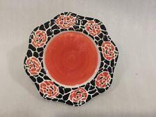 HALLOWEEN CANDY PLATE Marked JKL Ceramic ON Pumpkin Base 6 in Diameter