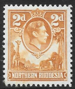 NORTHERN RHODESIA 1938 2d yellow-brown, mint hinged. SG 31. Cat.£50.