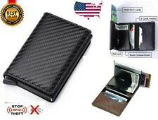 RFID Blocking Carbon Fiber  Credit Card Holder Money Cash Clip Wallet Purse