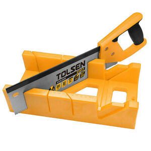 """Tolsen Mitre Block & Saw - Angle Cutting Box Sawing Guide Tool with 12"""" Hand Saw"""