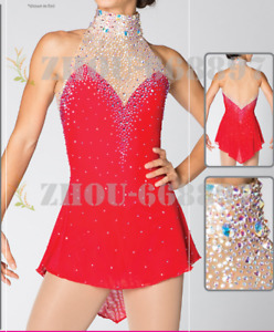 competition ice figure skating dress girl's spandex red Skating Wear Sleeveless