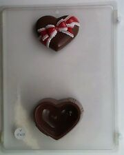 HEART WITH BOW POUR BOX CLEAR PLASTIC CHOCOLATE CANDY MOLD V060