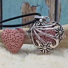 Aromatherapy diffuser Heart Flower Necklace Leather Essential Oil Pink Lava