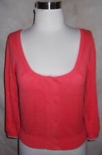 Guinevere Anthropologie Cardigan Sweater Small Coral Cropped Cotton