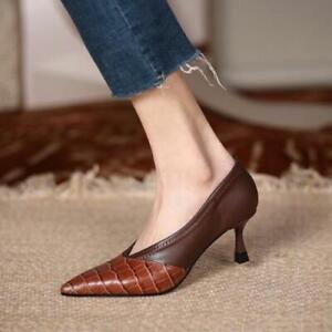 Womens 2021 Fashion Leather Two Tone  V-Cut Pointy Toe High Heel Pump Shoes SUNS