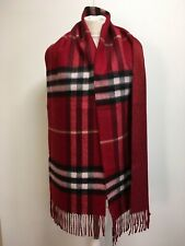 NWT Burberry cashmere blend metallic check red scarf fringe muffler