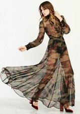 New REFORMATION Romania Black Red Print Sheer Chiffon Long Sleeve Maxi Dress S