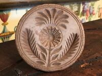 Antique French Wood Butter Mold Round Food Stamp Print Carved Flower