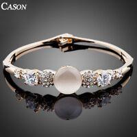 Fashion Opal Austrian Crystal Cuff Bangle Yellow Gold Plated Bracelet Jewelry