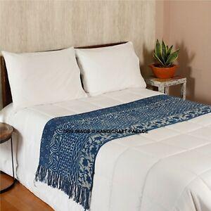 Main Bloc Imprimé Chemins de Table Indigo Coton Bleu dessus Lit Sol Tapis 4 1.8m