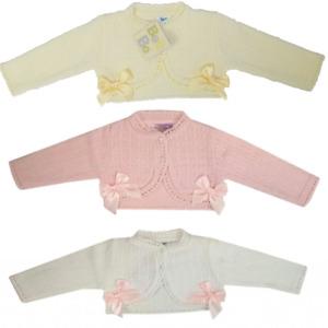 Baby Girl Spanish Style Bolero Cardigan Bow Knit Lace 0-9 Months