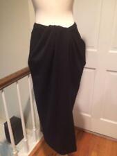 Vtg Black Label Donna Karan Navy Jersey Midi Length Skirt Twist Drape Size 8/6