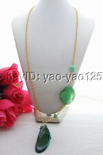 N130712 Great 25x77mm Green Agate Necklace